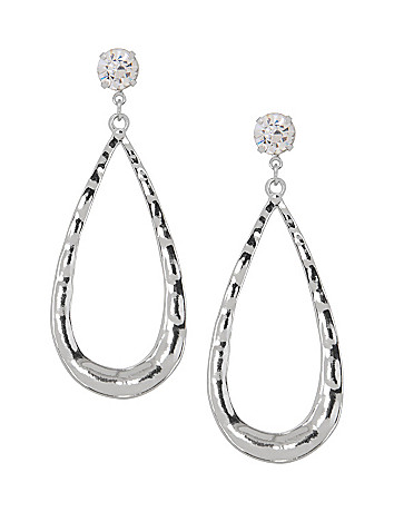 Rhinestone button teardrop earrings by Lane Bryant
