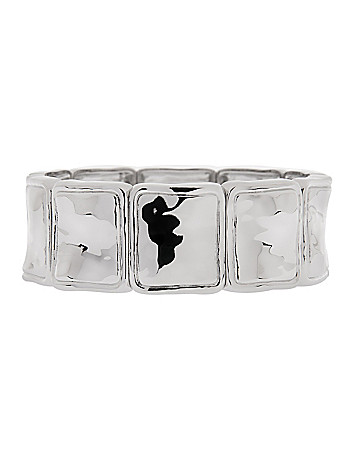 Hammered silvertone stretch bracelet by Lane Bryant