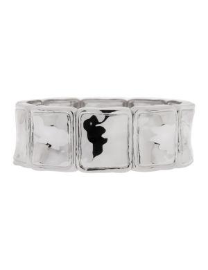 Hammered silvertone stretch bracelet by Lane Bryant