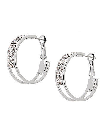 Rhinestone double hoop earrings by Lane Bryant