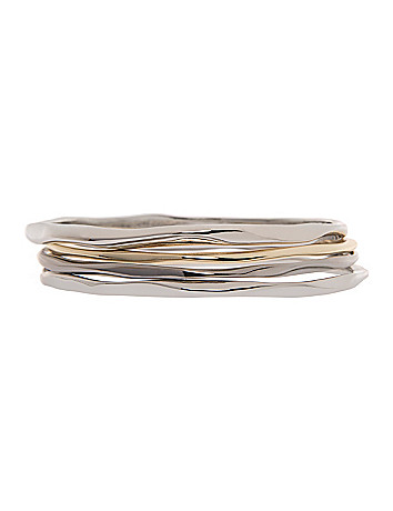 4 row hammered bracelet set by Lane Bryant