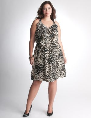 Ruffled leopard dress by DKNY JEANS