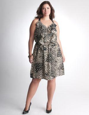 Ruffled leopard dress by DKNY JEANS