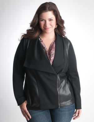 Faux leather pieced jacket by DKNY JEANS