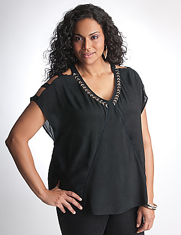 Plus Size Embellished Top by DKNY JEANS