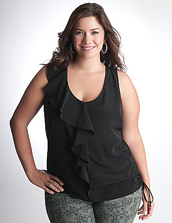 Plus Size Ruffled Tank Top by DKNY JEANS