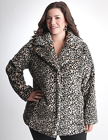 Plus Size Faux Fur Coat by DKNY JEANS