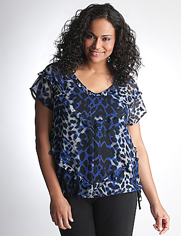Plus Size Leopard Print Ruffle Top by DKNY JEANS