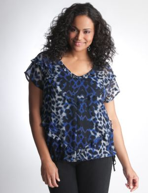 Leopard ruffle top by DKNY JEANS