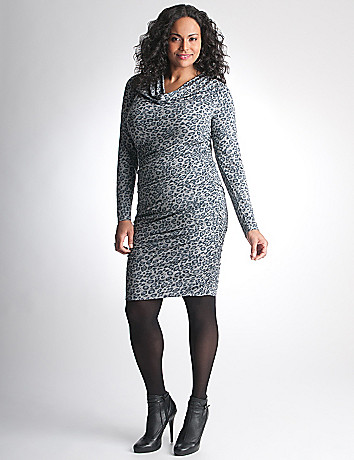Plus Size Shirred Leopard Dress by DKNY JEANS