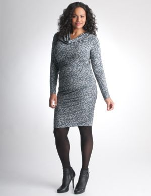 Shirred leopard dress by DKNY JEANS