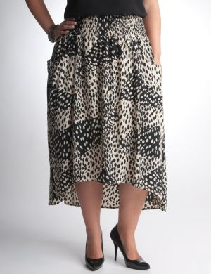 Leopard high low skirt by DKNY JEANS
