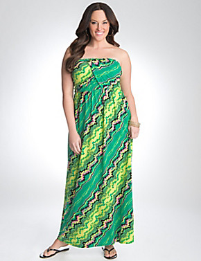 Plus Size Strapless Geo Maxi Dress by Lane Bryant | Lane Bryant