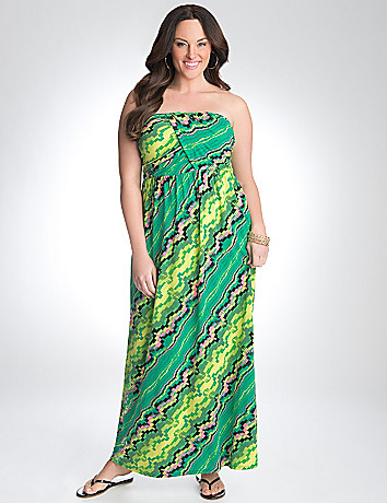 Full Figure Strapless Geo Dress by Lane Bryant
