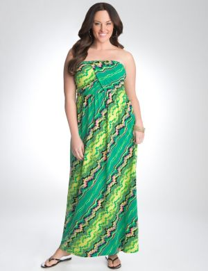 Strapless geo print maxi dress