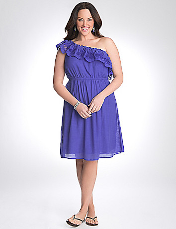 One shoulder ruffle dress by Lane Bryant