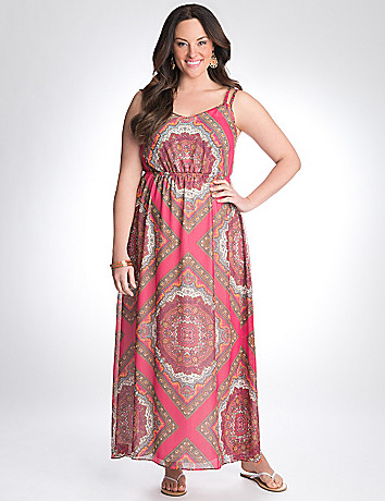 Scarf print maxi dress by Lane Bryant