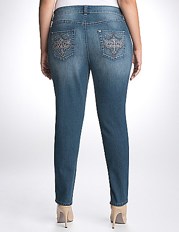 Plus Size Rhinestone Slim Fit Jean