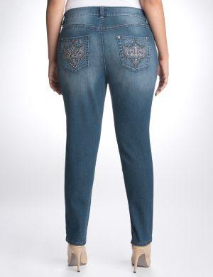 Cross embellished skinny jean