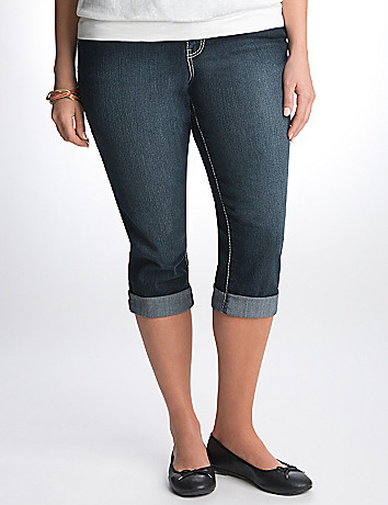 Full Figure Cuffed Denim Capri by Lane Bryant