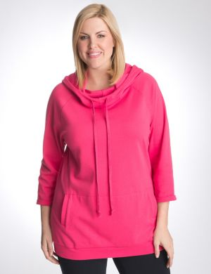 Cowl neck hoodie tunic