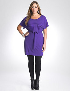 Full figure pleated tunic dress