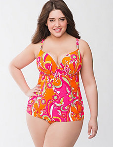Paisley swim tank with built in plunge bra