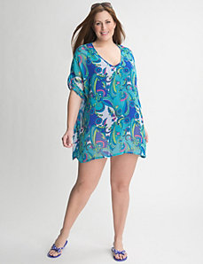 Chiffon paisley swim cover up by Cacique