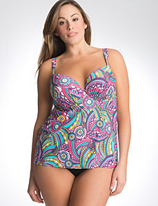 Cascading swirl swim tank with built in plunge bra