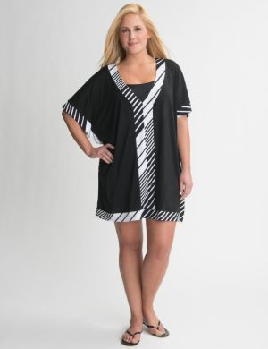 Bias stripe swim cover up