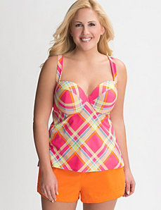 Plaid swim tank with built in balconette bra