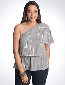 Full figure sequin zig zag one shoulder top