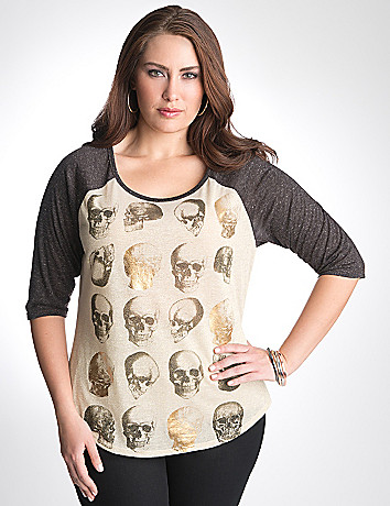 Plus Size Skull Baseball Tee by Lane Bryant