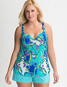 Paisley swim tank with built in balconette bra