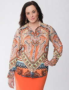 Lane Collection scarf print utility blouse