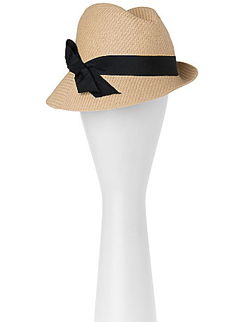 Straw fedora with bow by Lane Bryant