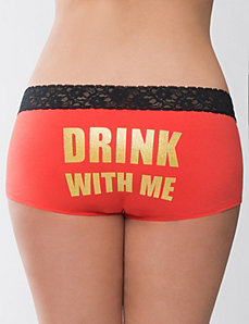 Drink with Me cotton boyshort panty by Cacique
