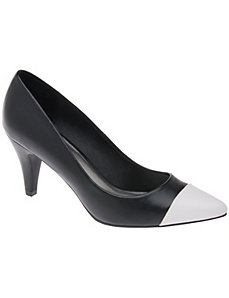 Wide Width Pointed Cap Toe Pump by Lane Bryant