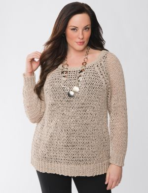Lane Collection open knit pullover sweater
