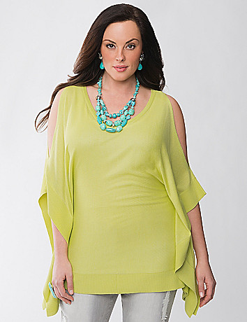 Lane Collection cold shoulder poncho