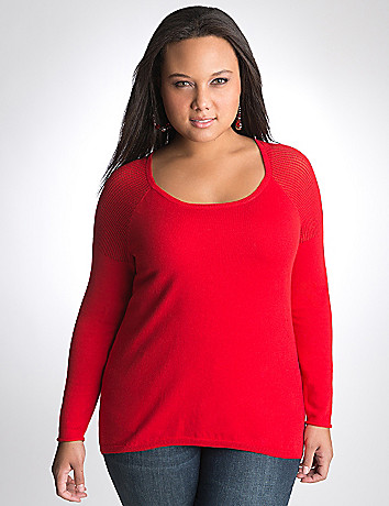 Mesh accent high low sweater by DKNY JEANS