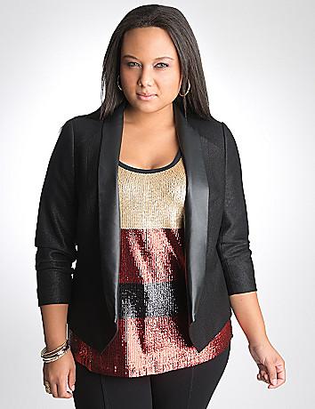 Shimmer tuxedo jacket by DKNY JEANS