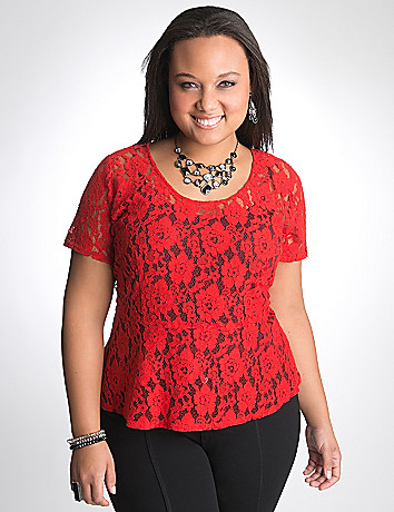 Plus Size lace peplum top by DKNY JEANS