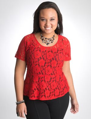 Lace peplum top by DKNY JEANS