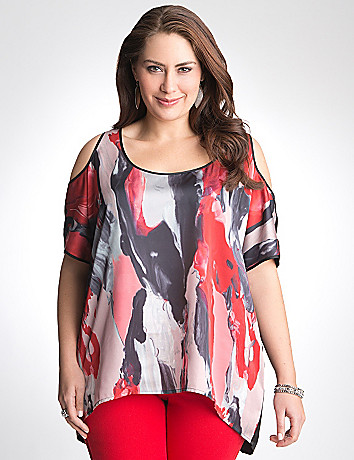 Full Figure Oil paint cold shoulder top by DKNY JEANS
