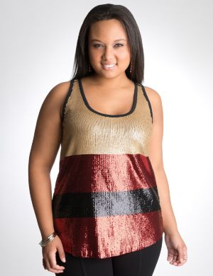 Sequin stripe tank by DKNY JEANS