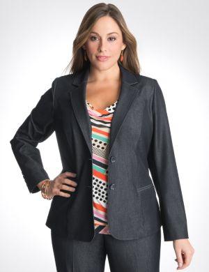 Refined denim suit jacket