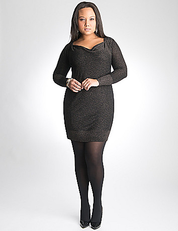 Full Figure Sparkle sweater dress by DKNY JEANS