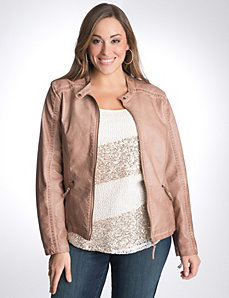 Plus Size Faux Leather Zip Jacket by Lane Bryant