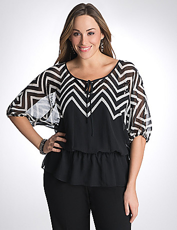Full figure sequin chevron blouse